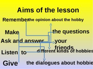 Aims of the lesson Remember different kinds of hobbies Make the dialogues abo