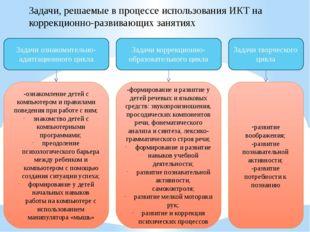 Задачи, решаемые в процессе использования ИКТ на коррекционно-развивающих