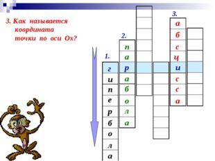 1. 2. 3. и р г и е п а л о б р 3. Как называется координата точки по оси Ох?