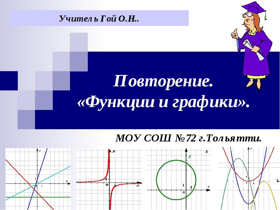 Повторение. «Функции и графики». МОУ СОШ №72 г.Тольятти. Учитель Гой О.Н..