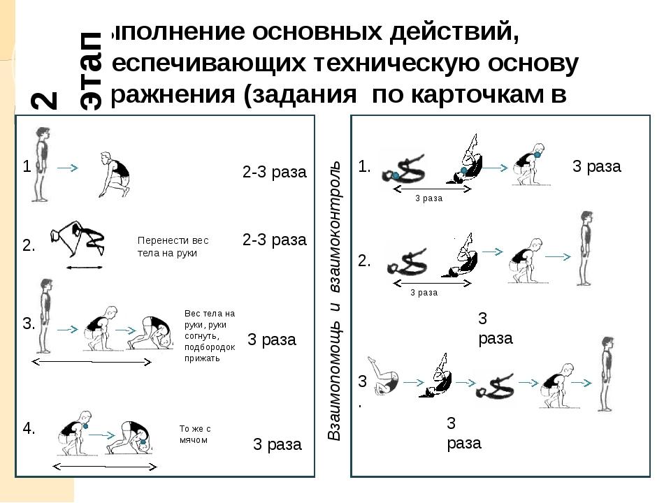Выполнение основных действий, обеспечивающих техническую основу упражнения (з...