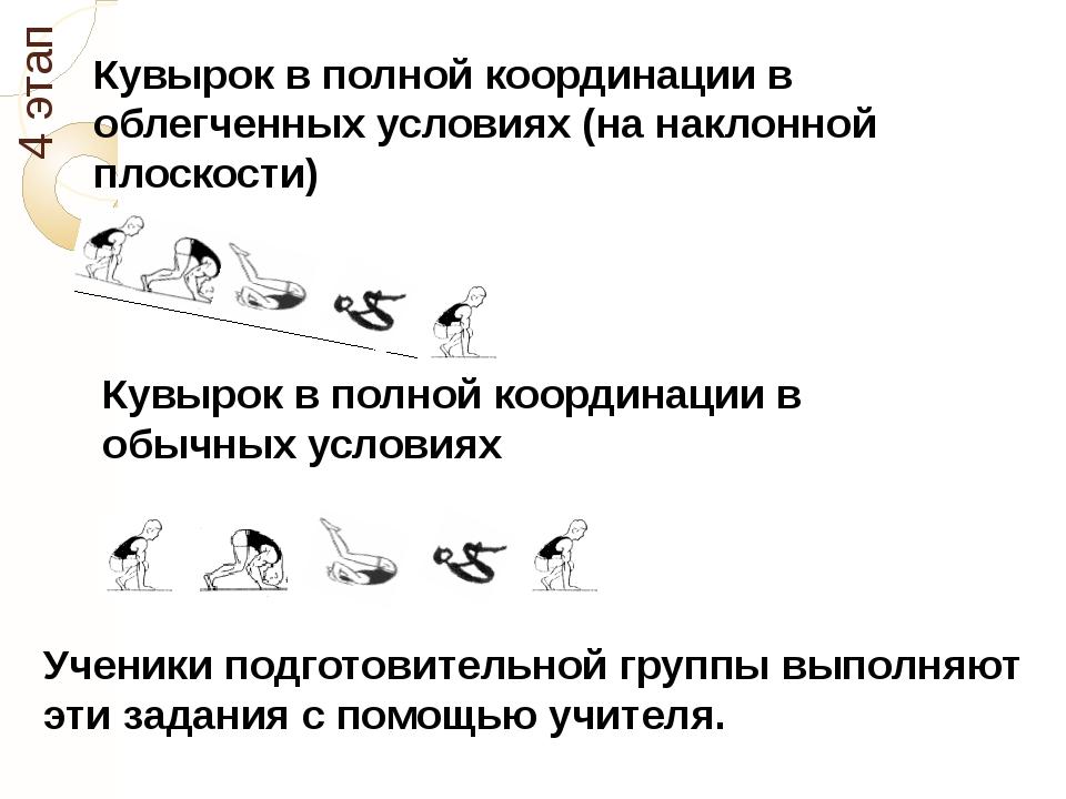 4 этап Кувырок в полной координации в облегченных условиях (на наклонной плос...