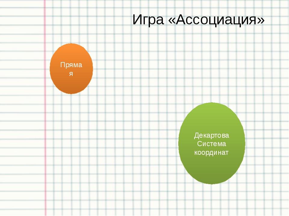 Игра «Ассоциация» Прямая Декартова Система координат