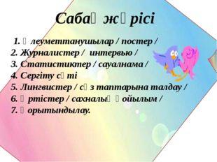 Сабақ жүрісі 1. Әлеуметтанушылар / постер / 2. Журналистер / интервью / 3. С