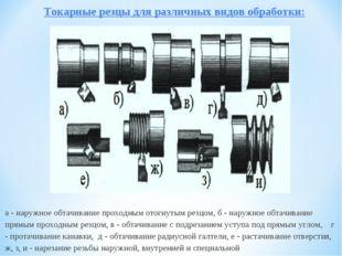 Токарные резцы для различных видов обработки: а - наружное обтачивание прохо