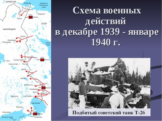 Схема военных действий в декабре 1939- январе 1940 г. Подбитый советский тан...