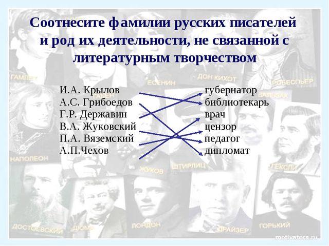 Соотнесите фамилии русских писателей и род их деятельности, не связанной с ли...