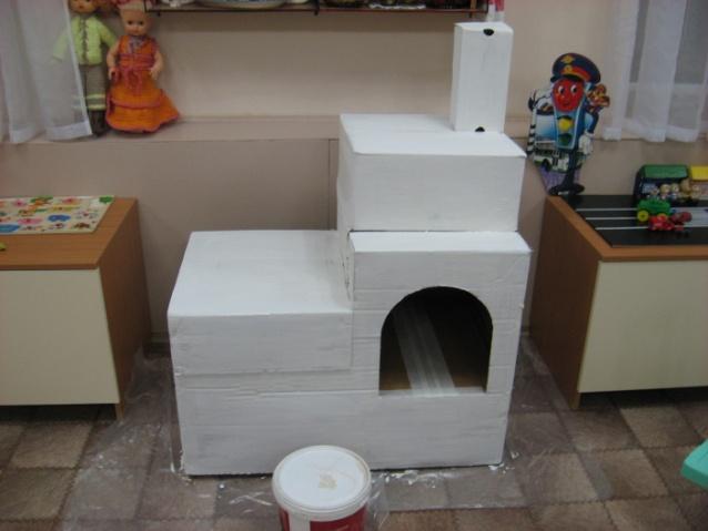 Печка из картона своими руками для детского сада 61