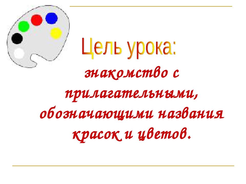 знакомство с прилагательными, обозначающими названия красок и цветов.