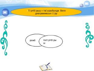 ромб тіктөртбұрыш «Төртбұрыш » тақырыбында Венн диаграммасын құру