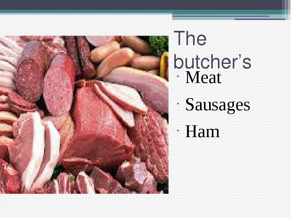 The butcher's Meat Sausages Ham