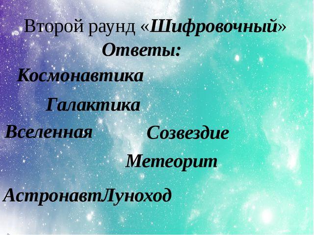 Второй раунд «Шифровочный» Космонавтика Ответы: Галактика Вселенная Созвездие...