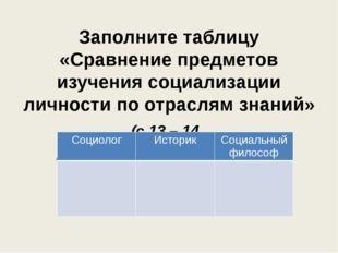 Заполните таблицу «Сравнение предметов изучения социализации личности по отра