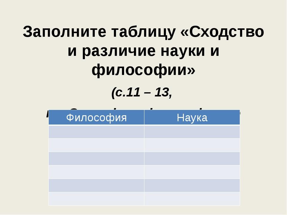 Заполните таблицу «Сходство и различие науки и философии» (с.11 – 13, п. «Спе...
