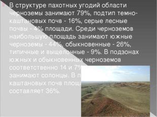 В структуре пахотных угодий области черноземы занимают 79%, подтип темно-кашт