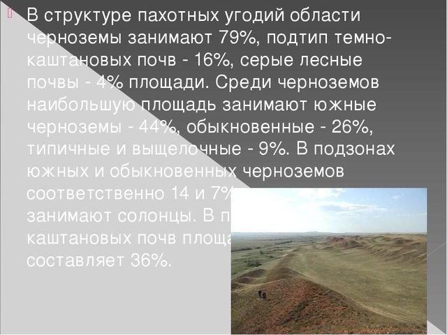 В структуре пахотных угодий области черноземы занимают 79%, подтип темно-кашт...