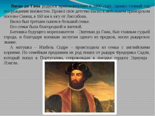 Васко да Гама родился приблизительно в 1460 году, однако точный год его рожд