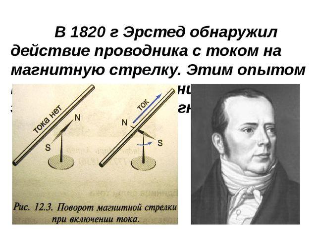 В 1820 г Эрстед обнаружил действие проводника с током на магнитную стрелку. Э...