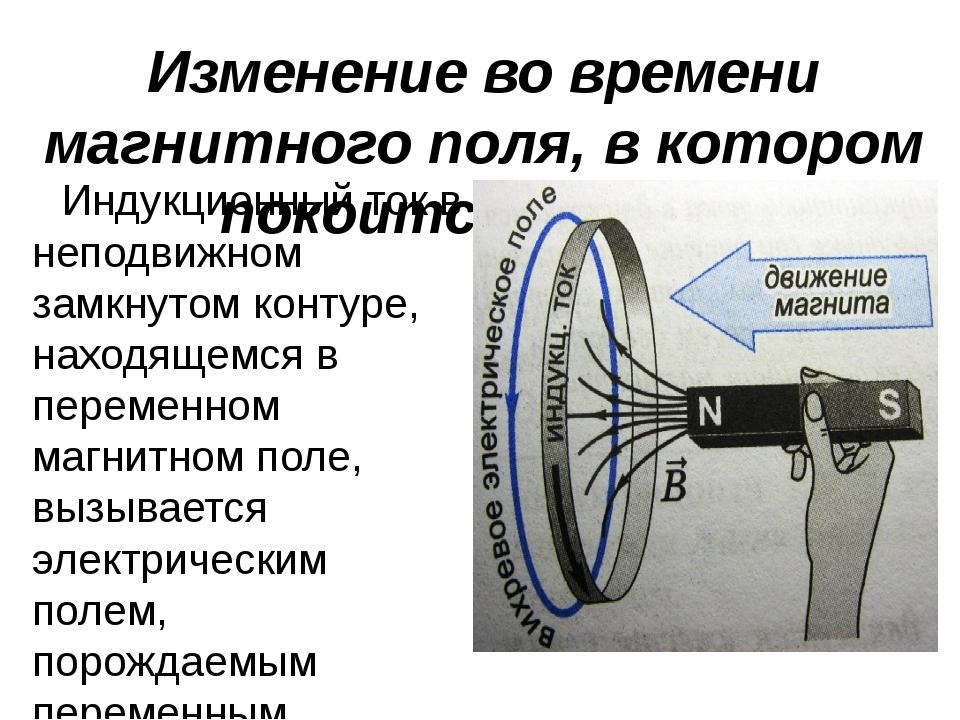 Изменение во времени магнитного поля, в котором покоится контур Индукционный...