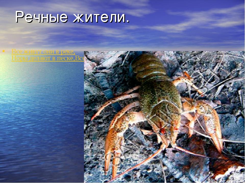 Речные жители. Все живут они в реке, Норы делают в песке, Всегда пятятся наза...