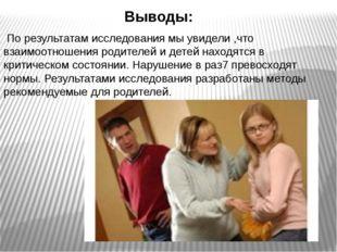 Выводы: По результатам исследования мы увидели ,что взаимоотношения родителей