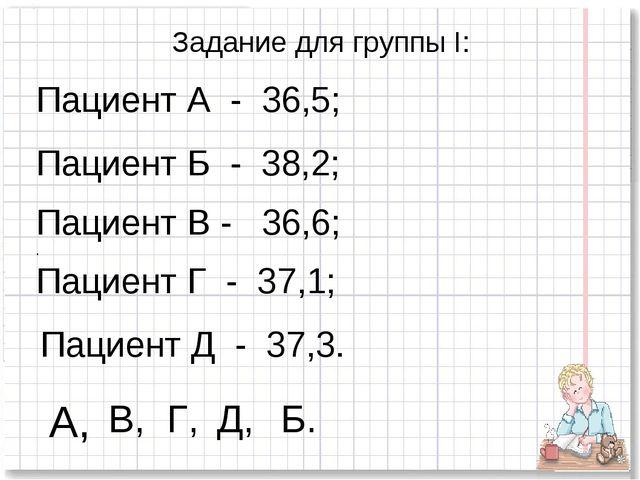 Задание для группы I: Пациент А - 36,5; Пациент Б - 38,2; Пациент В - 36,6; ....