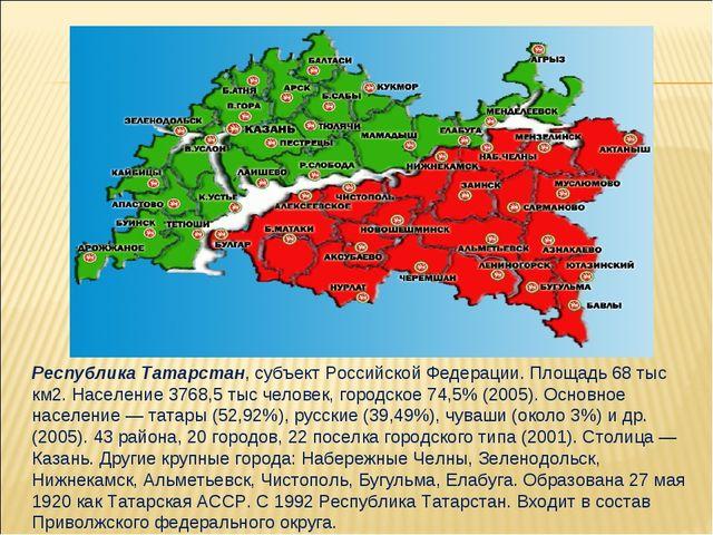 Республика Татарстан, субъект Российской Федерации. Площадь 68 тыс км2. Насел...