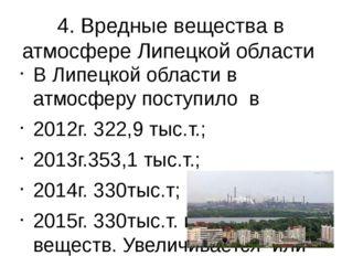 4. Вредные вещества в атмосфере Липецкой области В Липецкой области в атмосфе