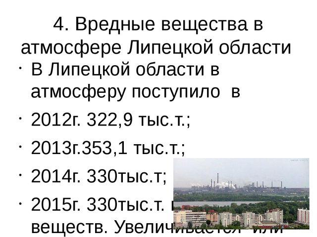 4. Вредные вещества в атмосфере Липецкой области В Липецкой области в атмосфе...