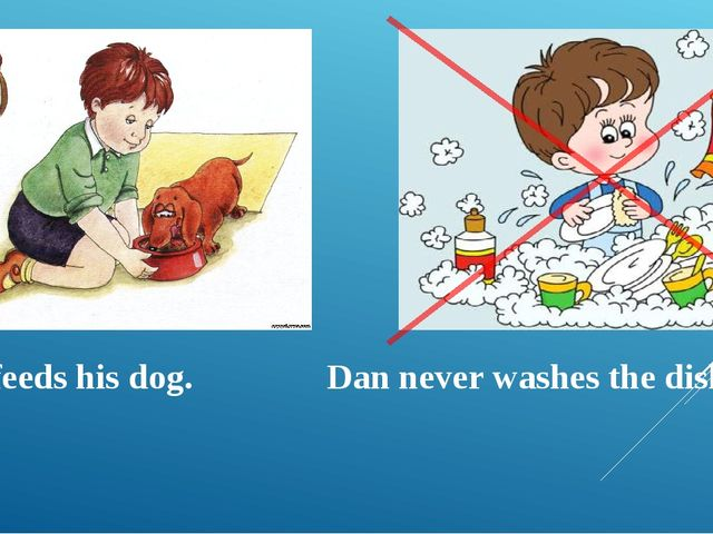Dan feeds his dog. Dan never washes the dishes.