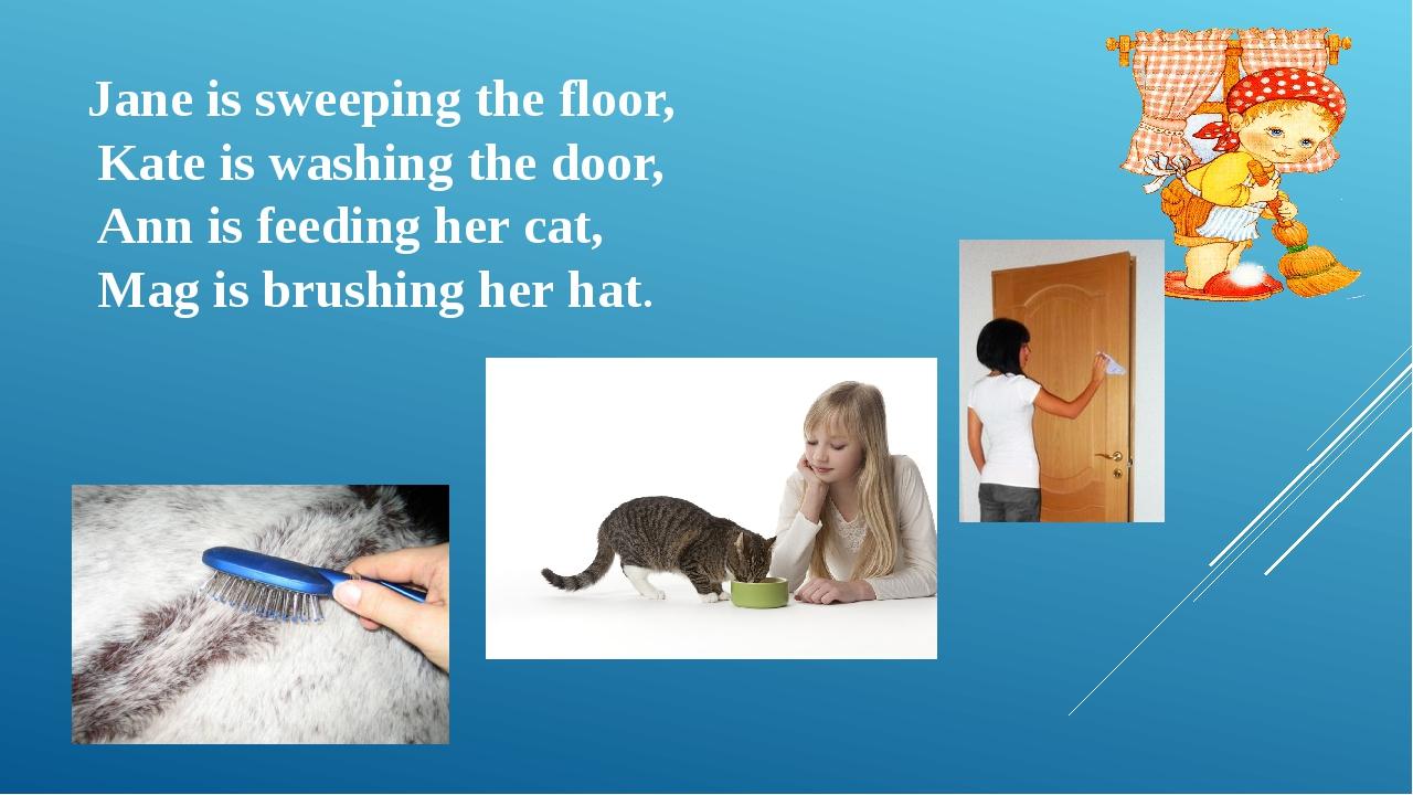 Jane is sweeping the floor, Kate is washing the door, Ann is feeding her cat,...