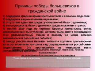 1) поддержка красной армии крестьянством и сельской беднотой; 2) поддержка на