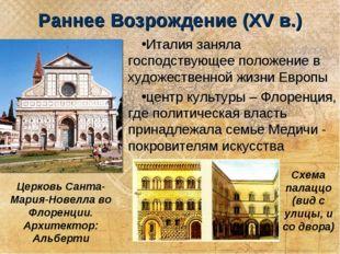 Раннее Возрождение (XV в.) Италия заняла господствующее положение в художеств