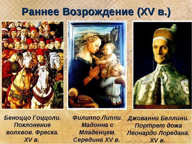 Раннее Возрождение (XV в.) Беноццо Гоццоли. Поклонение волхвов. Фреска. XV в....