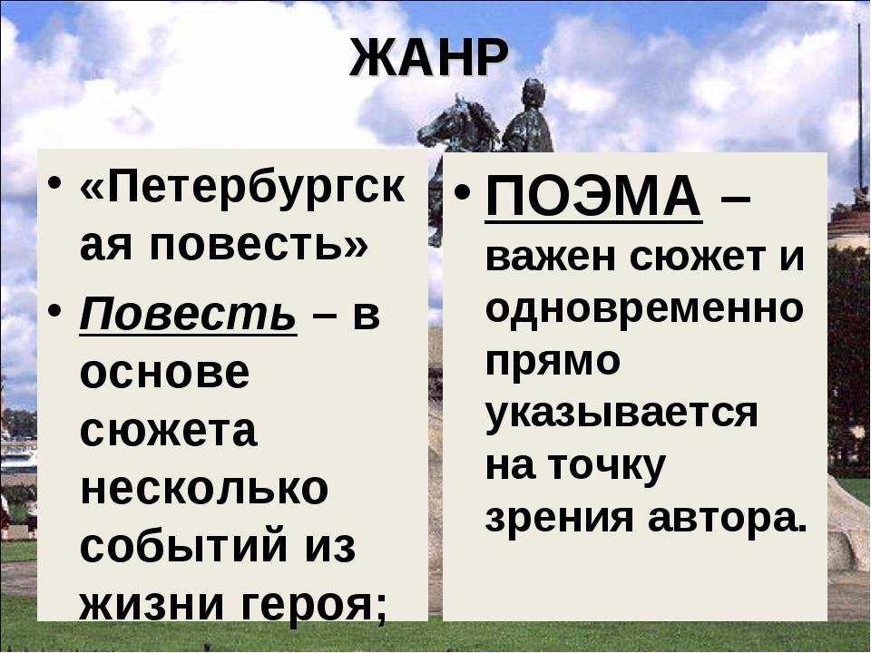ЖАНР «Петербургская повесть» Повесть – в основе сюжета несколько событий из ж...