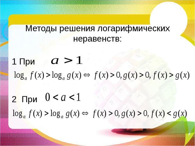 Методы решения логарифмических неравенств: 1 При 2 При