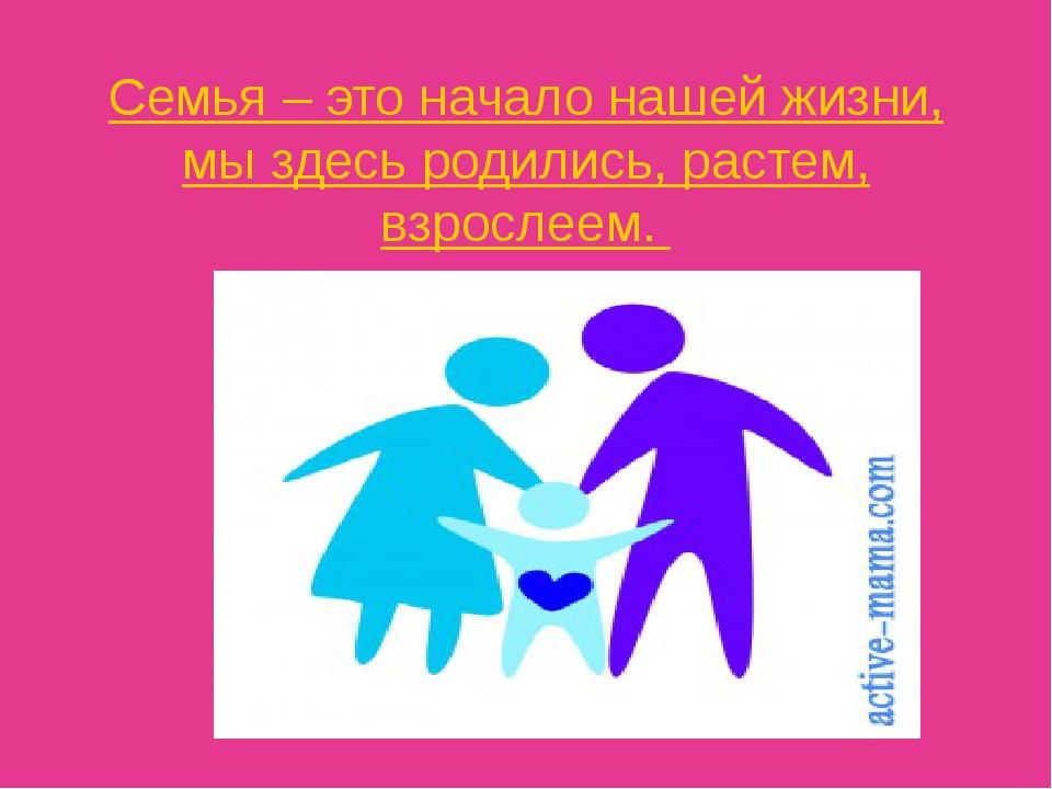Семья – это начало нашей жизни, мы здесь родились, растем, взрослеем.
