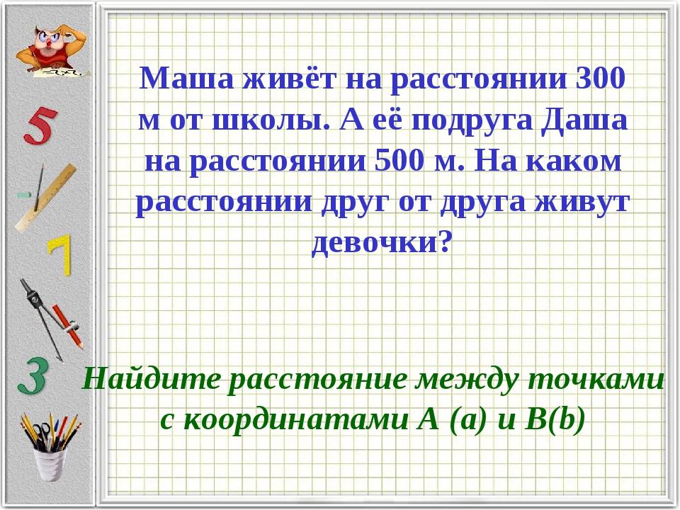 Найдите расстояние между точками с координатами А (а) и B(b) Маша живёт на ра...