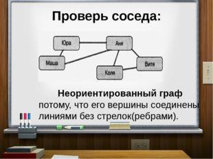 Проверь соседа: Неориентированный граф потому, что его вершины соединены лини