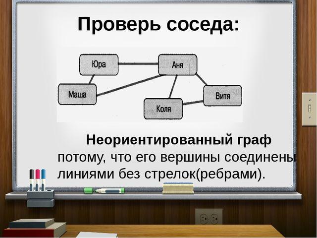 Проверь соседа: Неориентированный граф потому, что его вершины соединены лини...