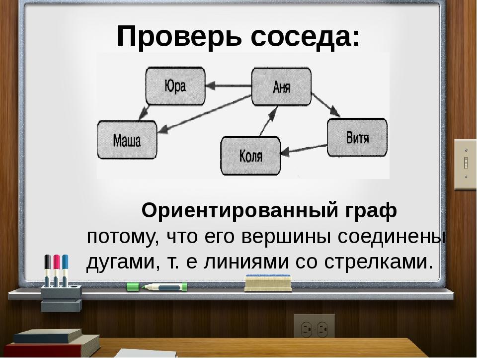 Проверь соседа: Ориентированный граф потому, что его вершины соединены дугами...