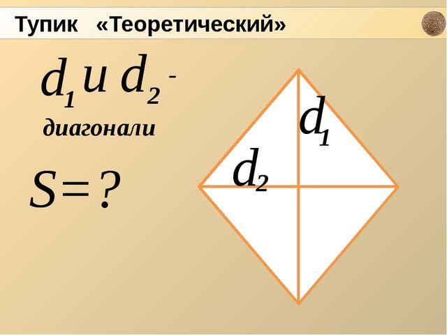S=? d d 2 1 d и 1 d 2 - диагонали Тупик «Теоретический»