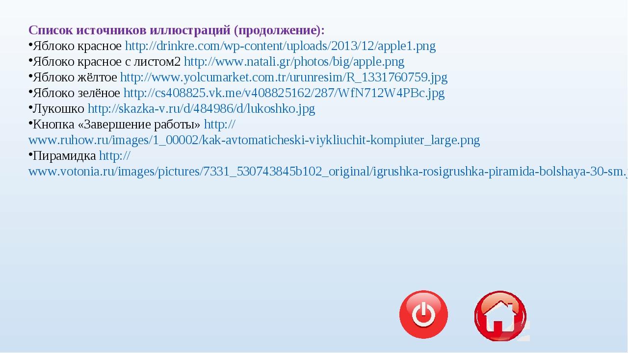 Список источников иллюстраций (продолжение): Яблоко красное http://drinkre.co...
