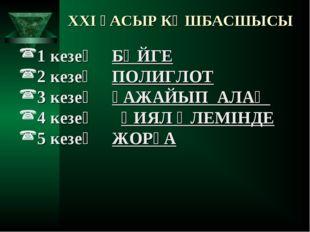 XXI ҒАСЫР КӨШБАСШЫСЫ 1 кезең БӘЙГЕ 2 кезең ПОЛИГЛОТ 3 кезең ҒАЖАЙЫП АЛАҢ 4