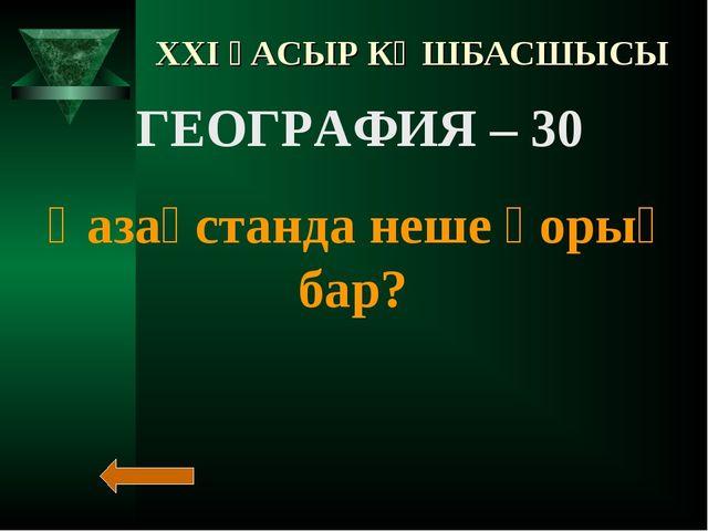 XXI ҒАСЫР КӨШБАСШЫСЫ ГЕОГРАФИЯ – 30 Қазақстанда неше қорық бар?