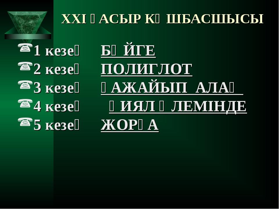 XXI ҒАСЫР КӨШБАСШЫСЫ 1 кезең БӘЙГЕ 2 кезең ПОЛИГЛОТ 3 кезең ҒАЖАЙЫП АЛАҢ 4...