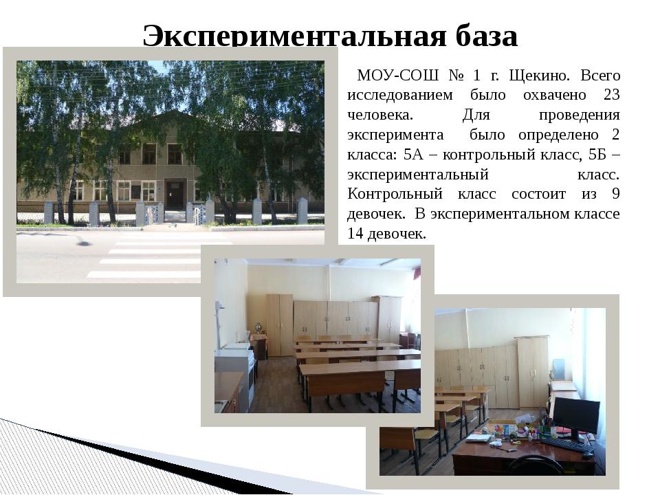 МОУ-СОШ № 1 г. Щекино. Всего исследованием было охвачено 23 человека. Для пр...