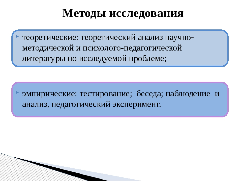 теоретические: теоретический анализ научно-методической и психолого-педагоги...
