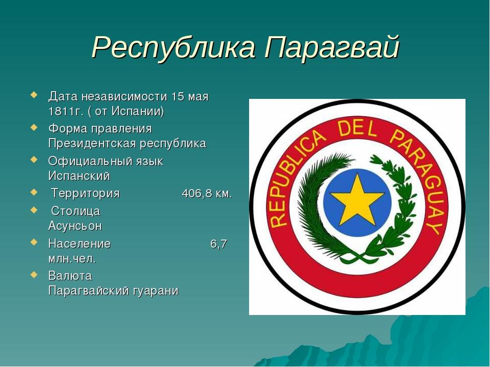 Республика Парагвай Дата независимости 15 мая 1811г. ( от Испании) Форма прав...