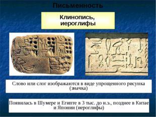 Клинопись, иероглифы Слово или слог изображаются в виде упрощенного рисунка (